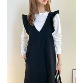 ショルダーフリルジャンパースカート (ブラック)