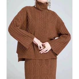 ケーブルモックネックニット×スカートセットアップ (ブラウン)