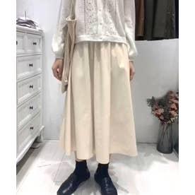 ギャザーフレアレザースカート (アイボリー)