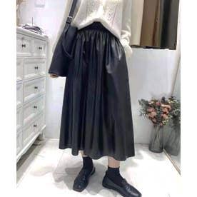 ギャザーフレアレザースカート (ブラック)