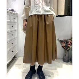 ギャザーフレアレザースカート (キャメル)
