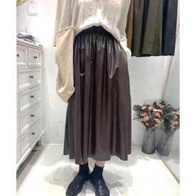 ギャザーフレアレザースカート (ブラウン)