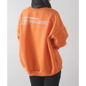 英字ロゴ裏起毛BIGプルオーバー (オレンジ)