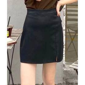 フェイクレザーミニスカート (ブラック)