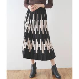 ラインペイントプリーツニットスカート (ブラック)