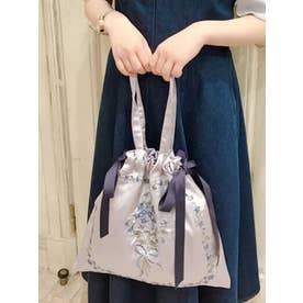 スミレ刺繍サテントートバッグ (BLUE)