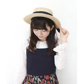 ロゴ刺繍リボンカンカン帽 (NAVY)