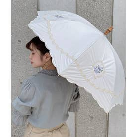 ローズレースモチーフ刺繍日傘 (OFF WHITE)