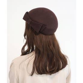 リボン使いトークベレー帽 (BROWN)