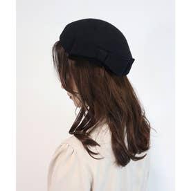 リボン使いトークベレー帽 (BLACK)