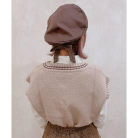 チェックリボン付きベレー帽 (BROWN)