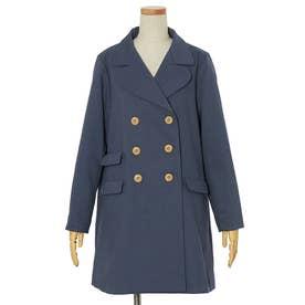 ダブルポケット使いジャケットコート (BLUE)