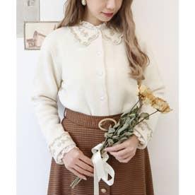 ラメ刺繍スカラップ衿ニットカーディガン (OFF WHITE)