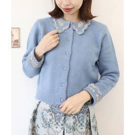 ラメ刺繍スカラップ衿ニットカーディガン (BLUE)