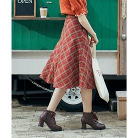 ビット使いバイアスチェックフレアースカート (RED×GR)