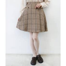 ダブルビット使いプリーツスカート (BEIGE×BR)