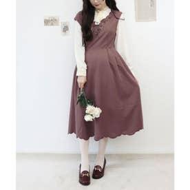 ローズカットワーク刺繍ジャンパースカート (PINK BROWN)