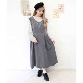 ローズカットワーク刺繍ジャンパースカート (GRAY)