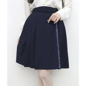 ロゴリボン使いプリーツスカート (NAVY)