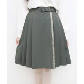 ロゴリボン使いプリーツスカート (GREEN)
