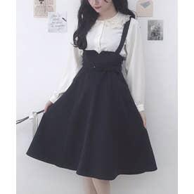 サス付きハイウエストフレアースカート (BLACK)