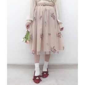 ベルト付きローズ総刺繍チュールスカート (L/ORANGE)