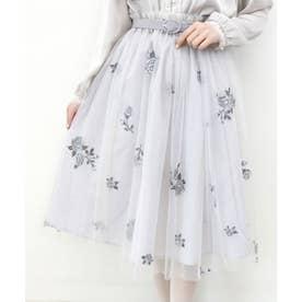 ベルト付きローズ総刺繍チュールスカート (BLUEGRAY)