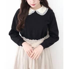 ヴィンテージサテン衿付きスウェットプルオーバー (BLACK)