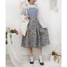 刺繍入りチューリップ柄ジャンパースカート (SAX)