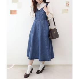 ビスチェ切替デニムジャンパースカート (BLUE)