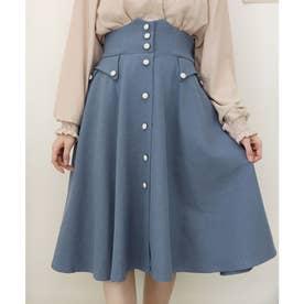 変形ポケット使いフレアースカート (BLUE)