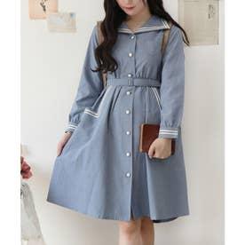 変形セーラー衿シャツワンピース (L/BLUE)