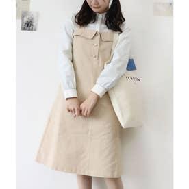 バックレターデザインジャンパースカート (L/BEIGE)