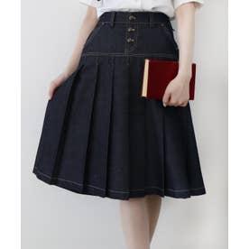 デニムプリーツ台形スカート (INDIGO)