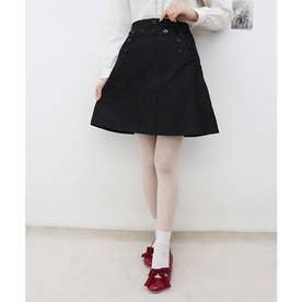 マリンパンツ風デニムミニスカート (BLACK)