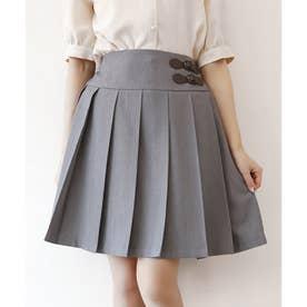 サイドベルト使いプリーツスカート (GRAY)