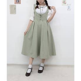 フロントレースアップUネックジャンパースカート (L/GREEN)