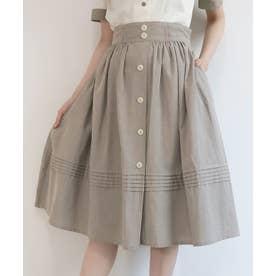 裾ピンタックギャザースカート (L/GREEN)