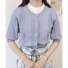 プチローズ釦レーシー半袖カーディガン (BLUE)