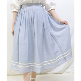 ライン使いシアープリーツスカート (L/BLUE)