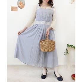 フロントローズ刺繍ジャンパースカート (L/BLUE×WH)