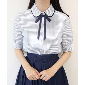 タイ付きダブルカラー5分袖ストライプシャツ (OFF×NAVY)