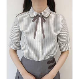 タイ付きダブルカラー5分袖ストライプシャツ (OFF×BE)