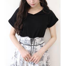 スカラップ衿フレンチスリーブT (BLACK)