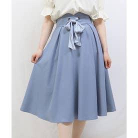 フロント結びリボンフレアースカート (BLUE)