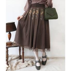 アンティークローズ刺繍チュールタックスカート (BROWN)