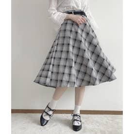 ウエストベルトチェックフレアースカート (GRAY×BK)