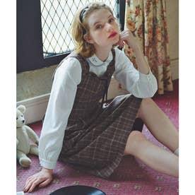 はしごリボンチェックジャンパースカート (BEIGE×BR)