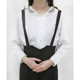 ローズ刺繍レースショールカラーシャツ (OFF×PK)