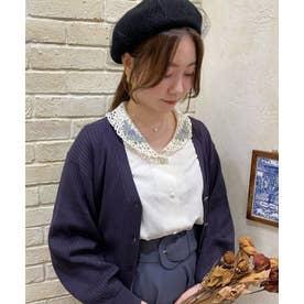 ローズ刺繍レースショールカラーシャツ (IVORY×PU)